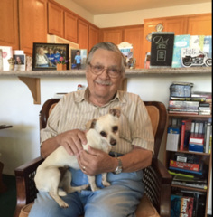 Senior and dog